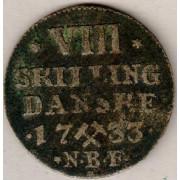 Mynter fra Dansketiden. 8 sk. 1733 (2)
