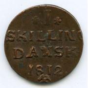 Mynter fra dansketiden. 1 sk. 1812
