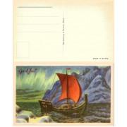 Damsleth. Båt med seil og nordlys. (5A)